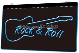 Bar Guitar NZ - [F1004] Rock and Roll Guitar Music NEW 3D Engraving LED Light Sign Customize on Demand 8 colors