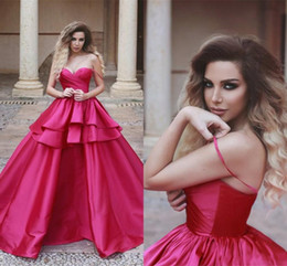 evening dress fuchsia Canada - 2019 Fuchsia Tier Ruffles Evening Dresses Formal Arabic Dubai Style A Line Off Shoulder Pleats Backless Satin Prom Gowns Party Pageant Wear