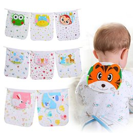 wholesale towels large Australia - Cotton Baby Wicking Towel Absorb Sweat Back Towel Perspiration Wipes Reusable Random Cartoon Print Baby Towel