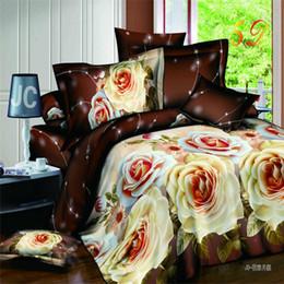 Discount flower silver sheet - European Style Luxury Romance 3 D Vivid Flower Pattern Duvet Cover Bed Sheet Pillow Case Bedding Set Number Queen Size 4