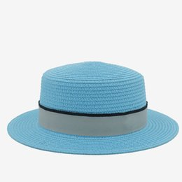 Summer Toquilla Straw Women Top Flat Dome Boater Beach Sun Hat Elegant Lady  Floppy Brim PorkPie Sunbonnet Fedora Hat 9d8341dfa5d9