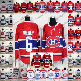 bbae57e05 Montreal Canadiens  6 Shea Weber Captain Patch Jerseys 31 Carey Price 92  Jonathan Drouin 13 Max Domi Red White Men Kid Women Youth