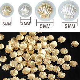 $enCountryForm.capitalKeyWord Canada - ERTRTE Sale Sea styles 100pcs pack Mixed 3mm 5mm 3d Gold Silver Shell Design Nail Art DIY Charm Metal Studs Nail Art Decorations