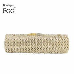 hollow diamond shape 2019 - Boutique De FGG Hollow Out Crystal & Beaded Women Gold Evening Minaudiere Bags Wedding Party Handbag Bridal Mini Clutch