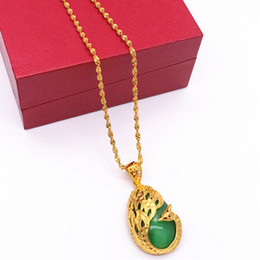 $enCountryForm.capitalKeyWord NZ - Green Stone With Peacock Desin Solid 18k Yellow Gold Filled Womens Pendant Chain Necklace Beautifl Accessories