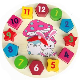Number Blocks Australia - Colorful Wooden Wall Clock Puzzle Toy 12 Number Block Children Clock Child Baby Kids Educational Toy Gift