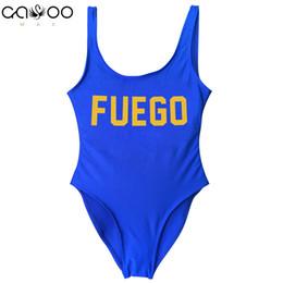 771e7ebf1843d FUEGO Golden Letter One Piece Swimsuit Girl Swimwear Women High Cut Bathing  Suit Plus Size Monokini Sexy Beachwear femme