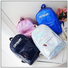3f99b7f5728c 4 Colors Harajuku Embroidery Letters Crybaby Hologram Laser Backpack Women PU  Leather Backpack School Bag Outdoor Rucksack CCA9960 50pcs