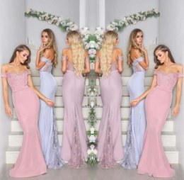e8f82a48ca6 2018 Cheap Glamorous Bridesmaid Dresses Off Shoulder Mermaid with Applique  Lace Low Back Satin Long Arabic Maid of Honor Wedding Guest Gowns