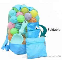 Discount wood day beds Free Shipping Children Toys Storage Bag Foldable Travel Beach Bag Solid Color Kids Mesh Backpack Children's Day Gif