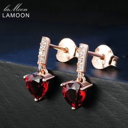 $enCountryForm.capitalKeyWord Australia - Lamoon Trendy 0.6ct Heart Natural Red Garnet 925 Sterling Silver Drop Earrings Fine Jewelry S925 LMEI030 S18101307