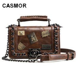 vintage motorcycle chain 2019 - CASMOR Rock Style Sequined Handbag Fashion Women Vintage Punk Casual Mini Small Chain Female Motorcycle Shoulder Crossbo