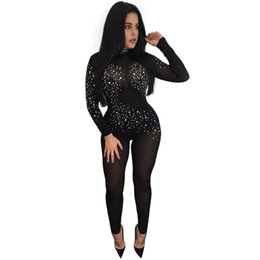 23fd01cb4f65 Wholesale- Sexy See Through Jumpsuit Club Bandage Women Black Mesh  Jumpsuits Long Sleeve Party Bodysuit High Cut Bodysuit Sequined Bodycon