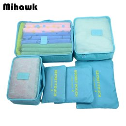 Pack Supplies Australia - Mihawk 6Pcs set Portable Travel Bags Large Capacity Packing Cube Clothing Underwear Sorting Organizer Luggage Accessories Supply