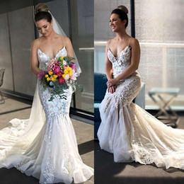 lace fishtail train wedding dress 2019 - 2019 Latest Mermaid Fishtail Wedding Dresses Sexy Spaghetti Neck Vestidos Lace Appliqued Bridal Gowns Court Train Hot Sa