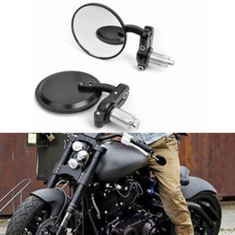 """Wholesale 2019 Motorcycle 7 8"""" HandleBar 3"""" Round End Mirror Motorcycle rearview mirror Cafe Racer Bobber Clubman Black DHL UPS Free Shipping"""