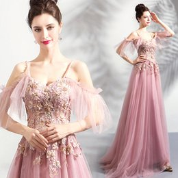 $enCountryForm.capitalKeyWord Australia - Beaded Lace Blush 2018 Vintage Evening Dresses Spaghetti A-line Tulle Prom Dresses Cheap Fashion Bridesmaid Formal Party Gowns