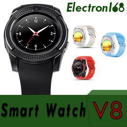 $enCountryForm.capitalKeyWord Australia - 100X Smart Watch V8 Clock Sync Notifier Support Sim Card Bluetooth Connectivity For Android Phone Smartwatch PK DZ09 GT08 U8 DHL
