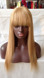 blonde hair bangs straight wigs 2019 - Unprocessed Virgin Peruvian Honey Blonde Silk Straight Full Lace Wigs Glueless Human Hair Lace Front Wig with Bangs Baby