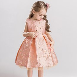 baby girls vest wedding 2019 - 2018 flower girl Dress for Girl Flower Bronzing Baby Dress For Wedding Kids Party Christmas Dress for Toddler Girls Clot