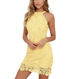 Wholesale bodycon lace dress for sale - Group buy Womens Elegant Wedding Party Sexy Night Club Halter Neck Sleeveless Sheath Bodycon Lace Mini Dress Short