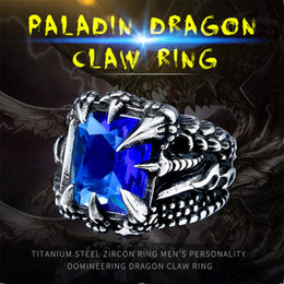 Black Crystal Price Australia - Punk Vintage Cool Dragon Claw Ring with Red Blue Black Clear Crystal Stone Stainless Steel Ring Men's Hiqh Quality Jewelry Wholesale Price