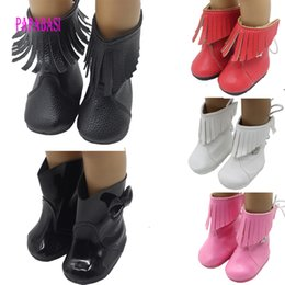 American Leather Shoes Australia - Wholesale-1Pair PU Leather Boots Wear fit 18 inch American Girl dolls mini shoes, Children best Birthday Gift