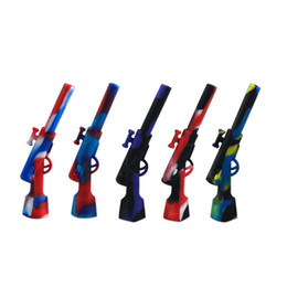 gun water bong NZ - unique gun shape Smoking Pipes VS Glass Water Pipes tobacco silicone bong oil rig glass bong hookah hose silicon hookah pipe 710