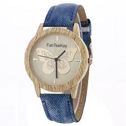 Discount quartz butterfly watch women - 2017 New Fashion Wood Grain Watches Peach Butterfly Jeans Strap Quartz Wristwatches Women Trendy Dress Watches
