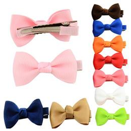 Hair Clips For Cute Girl NZ - Boutique Small Ribbon Bow for Hair Baby Girls Bowknot Hairpin Children Little Hairclip Cute Hair clips Bangs folder 20 Styles D495Q