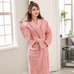 94dcd3d159 Winter New Coral Fleece Lady Robe Kimono Thick Warm Bathrobe Nightgown Long  Sleeve Sleepwear Nightgown
