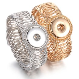 Gold watch charm online shopping - Noosa Chunks Snap Button Bracelet Gold Silver Adjustable Elastic Snap Bracelet Watches One Direction Fit mm Snap Jewelry