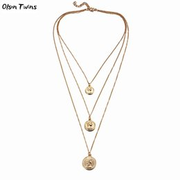 $enCountryForm.capitalKeyWord NZ - Olsen Twins Cheap Wholesale Long 3 Layers Coin Charm Link Chain Necklaces for Dropshipping 2018