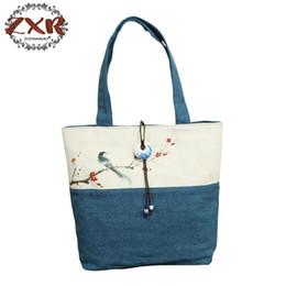 ladies big hand bags 2019 - Chinese Painting Series Women Linen Canvas Tote Bag Flower Hand Painted Ladies Soft Big Shoppers Shopping Handbag Jade P