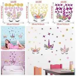 Nursery star wallpaper online shopping - 3styles DIY Unicorn Cartoon star Wall Sticker Stars flower Kids Bedroom Decal Poster Wallpaper Art Stickers Living Room decor FFA1000