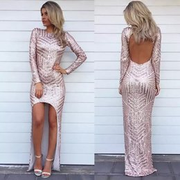 asymmetric dress backless 2019 - Sexy Glitter High Low Evening Dresses Sequins Asymmetric Long Sleeves Party Prom Dresses Backless Formal Celebrity Arabi