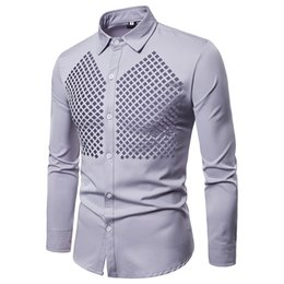 Fitting Dress Shirt Men Australia - New Design Hollow Out Men Dress Shirts Long Sleeve Dress Party Stage Chemise Homme Slim Fit Camisas Social Masculinas