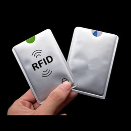 card reader locks UK - Unisex Anti Rfid Wallet Blocking Reader Lock Bank Card Holder Id Bank Card Case Protection Metal Credit Card Holder Aluminium 6.3*9.1cm