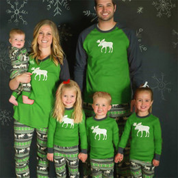 2018 Christmas Kids Adult Family Matching Pajamas Set Long Sleeve Top and  Pants Xmas Deer Reindeer Parents Childen Sleepwear Nightwear sale 2523091df