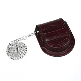 Discount coin bag men - Brown Bamboo pattern Pocket Watch Holder Box Coin Purse Bag With Chain 2018 new sales Watch Holder bag for woman man