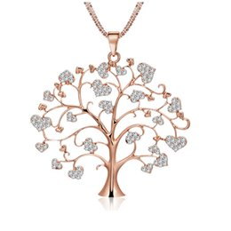 Crystal Lucky Tree Australia - Lucky Life Tree Pendant Necklace For Women Luxury Crystal Diamond Love Heart Charms Hope Tree Long Sweater Chain Necklace Wedding Jewelry