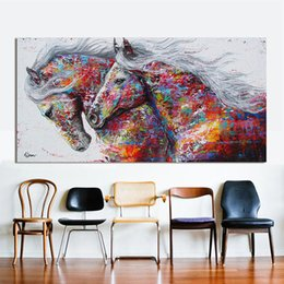 Painting horses modern art online shopping - RELIABLI Animal Canvas Art Wall Pictures Decor The Two Running Horse Modern Painting For Living Room No Frame