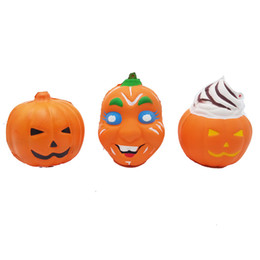 Discount halloween toys kids - 3styles Pumpkin Ghost face squishy Jumbo Squeeze Toys PU Decompression Toy Novelty Items Halloween toy prop kids gift FF