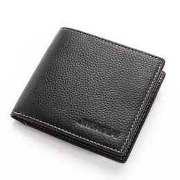 Design Genuine Leather NZ - Men Wallet 2018 New Design Wallet Male Genuine Leather Card Holder Short Casual Standard Slim Coin Purse carteira