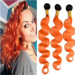ombre hair extensions 22 inch NZ - Dark Roots Two Color 1B Orange Color Hair Extension 10-30 Inch Ombre 1B Orange Body Wave Hair Weft 3Bundles Free Shipping