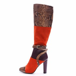 China Womens Snake rint Patchwork Round Toe Square High Heels Buckle Zipper Winter Snow Boots Plus Size Ladies Casual Shoes For Party supplier plus size womens winter boots suppliers