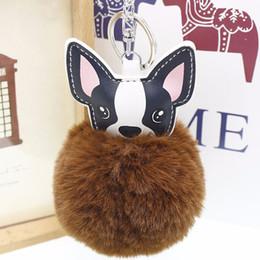 dog rabbits 2019 - French Bulldog Keychain Fluffy Rabbit Fur Ball Pompom Key Chain Pu Leather Animal Dog Keyring Holder Bag Charm Trinket C