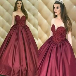 Sweethearts Ball Australia - Sweetheart Burgundy Ball Gown Quinceanera Dresses A-Line Satin Lace Appliqued Beaded Backless Formal Prom Evening Gowns