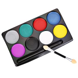 Painting Faces Australia - 8 Colors with Brush Flash Tattoo Body Paint Oil Painting Art Non-toxic Water Halloween Party Makeup Face Paint