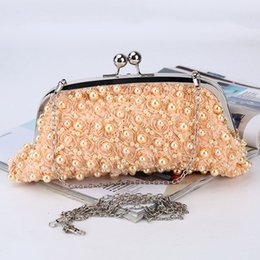 Pearl Clutch Bags Canada - Luxury women clutch handbags diamonds beaded pearl ladies vintage evening bags crystal wedding rhinestones champagne white bag